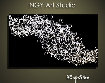 "NGY  24"" x 36"" Custom made R. Silva Original Modern Abstract Contemporary Fine Art Painting"