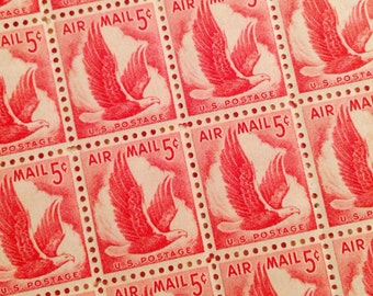 Set of 12 Red Eagle Airmail from 1959 stamps to add to your cards or letters