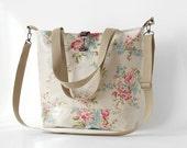 Waterproof, blossom linen laminate Tote / Shoulder Bag / school bag / Diaper bag, with detachable strap.  Design by BagyBags