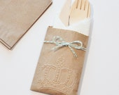 Table Settings Wedding 10 Flatware Bags Wooden Utensils Cutlery Rustic Birthday Party Baby Bridal Shower Favors Crown Paper Goods