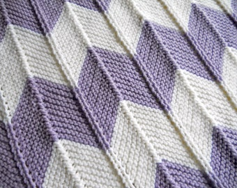 Baby Blanket, hand knitted chevron