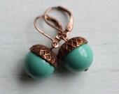 Acorn Earrings ...  Turquoise Aqua Teal Swarovski Pearls Copper Oak