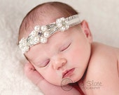 Vintage headband, Baby headband, newborn headband, Baptism, adult headband, garter wedding belt and photo prop ELEGANT PEARLS headband