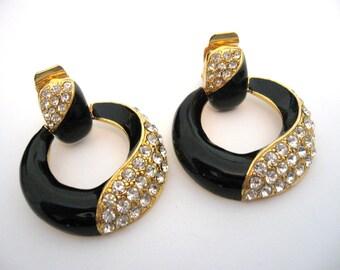 Vintage Black Enamel Clear Rhinestone Hoop Earrings