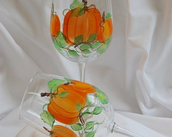 Pumpkin Wine Glasses - hand painted - set of 2