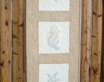 Cape Cod Mermaid Hand Embroidered Quilted Wall Hanging
