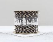 Jute Twine - Natural Black Twist, 50 Yard Spool of Rustic Burlap Craft String