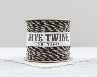 Jute Twine - Natural Black Twist, 50 Yard Spool of Rustic Burlap Craft String