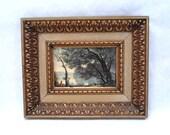 Gilded Wood 8 x 9 Frame and Wooded Lake Landscape Print Vintage 60s