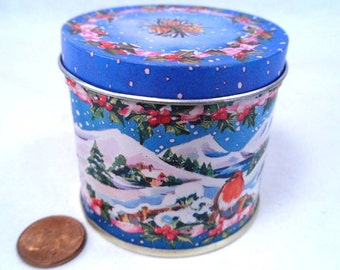 Lillian Vernon Christmas Candle in a Tin Vintage 80s