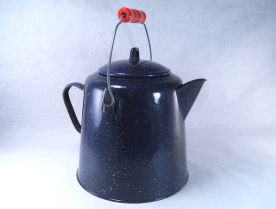 Blue Granite Enamel Camp Coffee Pot With Red Wooden Handle