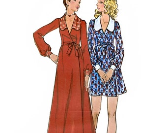 Butterick 6551 Vintage 70s Misses' Wrap Dress Sewing Pattern - Uncut - Size 8