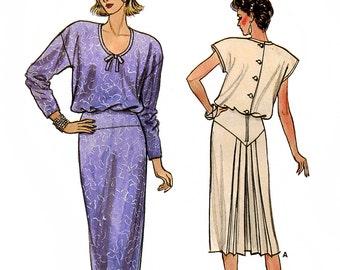 Butterick 9215 Vintage 80s Misses' Dress Sewing Pattern - Uncut - Size 8