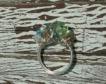 Ocean's Blessings Ring - Aqua, seafoam, rose quartz, freshwater peal silver wire wrapped ring