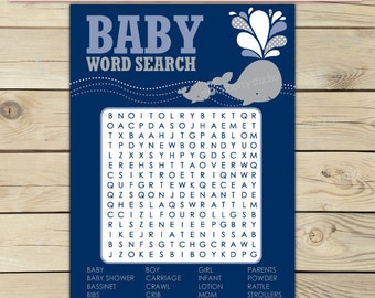Whale Baby Shower Baby Word Search Game Printable - Boy Baby Shower Games - Gray Whale - Navy Blue Baby Shower Activity - Instant Download