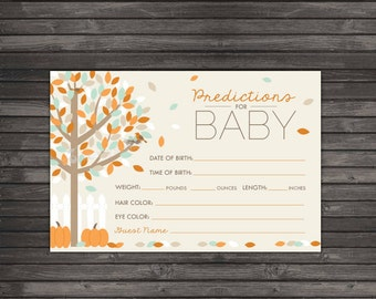 Fall Baby Shower Baby Prediction Card Printable - Instant Download - Autumn Baby Shower Game - Pumpkin Baby Shower Baby Predictions