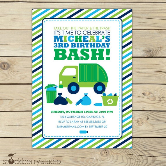 Product Search Garbage Trash – Dump Truck Party Invitations
