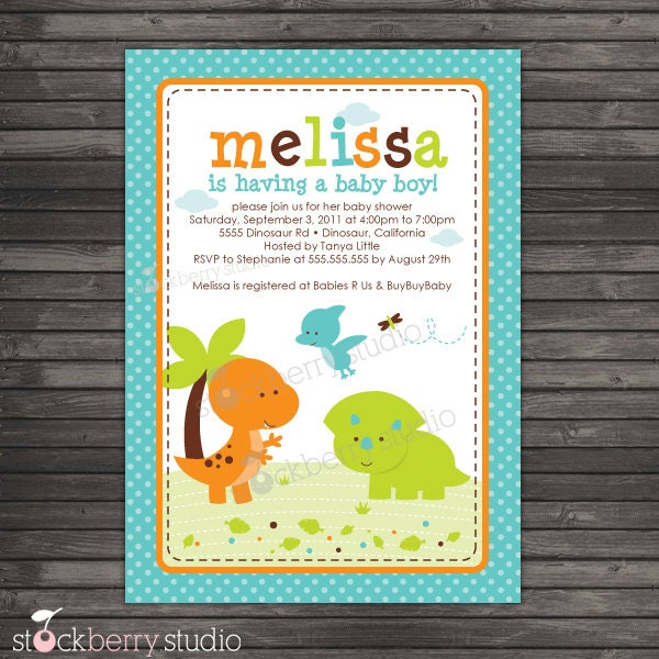 Zany image for free printable dinosaur baby shower invitations