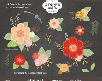 Flower Bouquet clip art, clipart , wedding, scrapbooking, DIY invitation