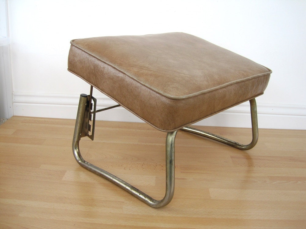 Vintage Adjustable Footstool Foot Stool Vinyl Leg Lounger