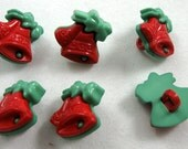 Christmas Bell Buttons in Red and Green No.101