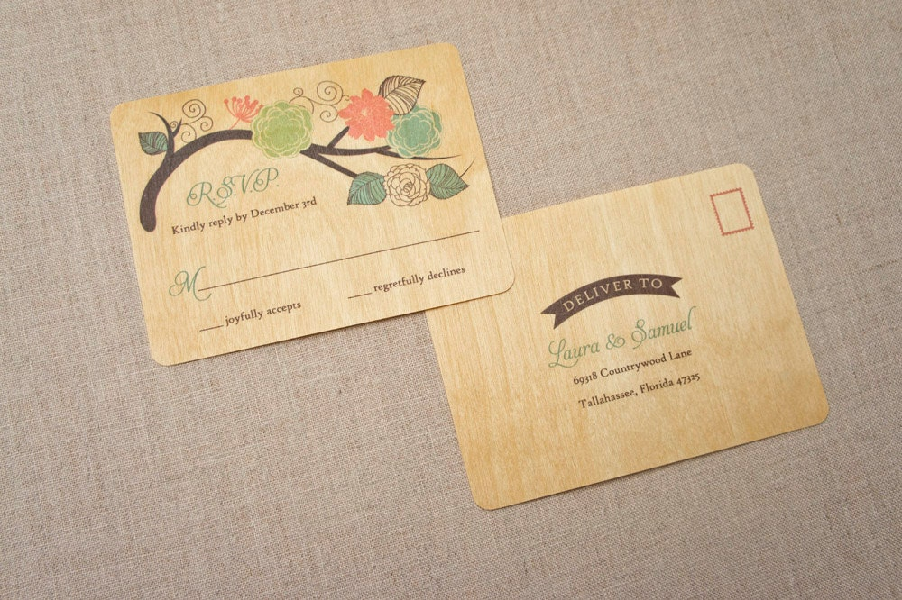 Real Wood Wedding Invitations: Real Wood Wedding Invitations Whimsical Bird Cage