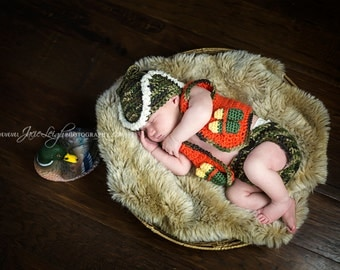 Hunters Vest, Hat and Diaper Cover