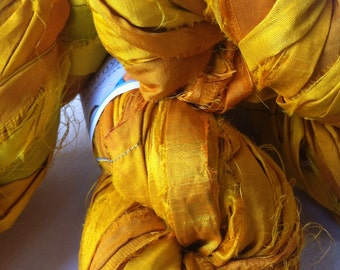 Recycled sari silk ribbon. 200g. Large skein of yellow gold rich quality sari silk. Fair trade yarn for jewelry making and more.