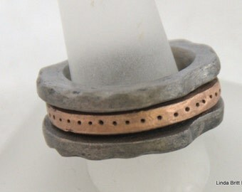 Steel and Rose Bronze Inset Ring - size 9.5 - Unisex Ring - Metal Band Ring