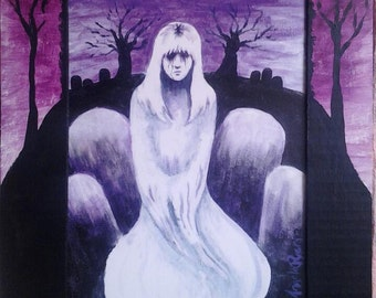 Done- Ghost Art Print with Hand Painted Cardboard Mat
