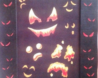 Halloween Faces- Print with Hand Painted Cardboard Mat