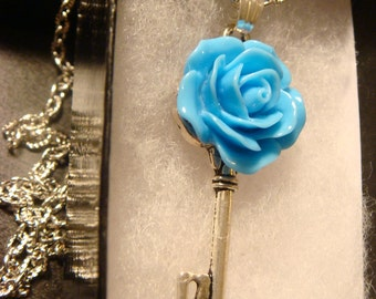 Small Blue Rose Skeleton Key Necklace (1415)