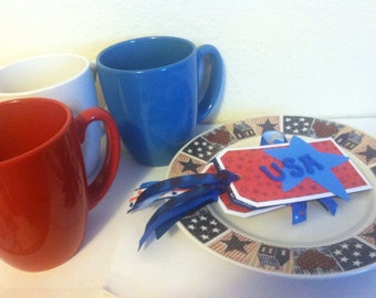4th of July party supplies, mugs, plates, gift tags, Americana, Red, White & Blue, Patriotic