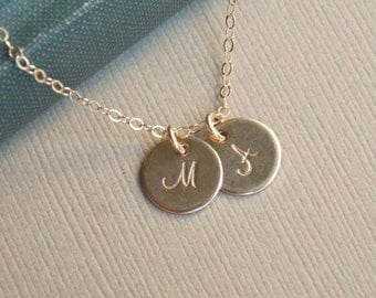 Initial Disc Necklace, Tiny Personalized Jewelry, 1 2 3 4 5 6 7 8 Initial Discs Necklace, 14k Gold FIll, Monogram Necklace, Best Friends