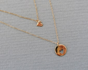 Mother Daughter Necklace Set / GOLD Heart Necklaces /  Matching Necklace Set / Sister Jewelry / Gift for Her / Grandma Necklace