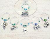 Elephant Wine Charms - Set of 6 Elephant Wine Charms