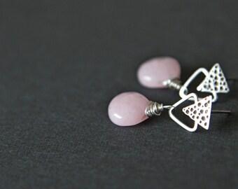 Stud silver 925 earrings with pink jade
