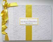 Lace Bridal Shower Guest Book, Yellow + White Wedding Guestbook, Vintage Lace Guestbook - (Custom Ribbon Colors Availabl