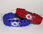 Nut, Peanut and or Shellfish Allergy Medical Alert ID ALLOY Charm on Paracord Survival Strap Bracelet with Side Release Buckle