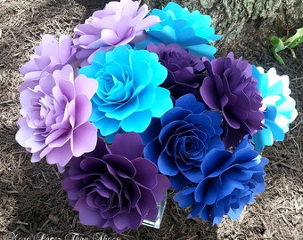 Paper Flowers - Weddings  -  Home Decor - Party Decorations - Large Stemmed Flowers  - Set of 12  - Made To Order
