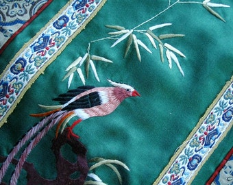 Vintage Asian Embroidered Panel of Bird
