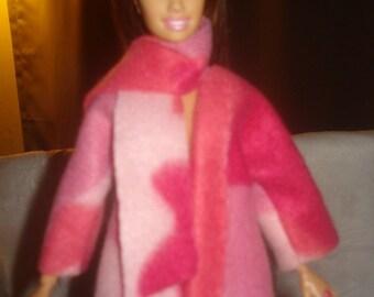 Pink camoflage Fleece short coat for Fashion Dolls - ed528