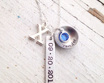 Create your own custom mothers necklace up to three pendants name dates initials discs flat domed bars hearts washers you choose child