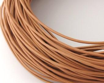 LRD0105167) 0.5mm Beige Genuine Round Leather Cord.  1 meter, 3 meters, 4.6 meters, 10.3 meters.  Length Available.