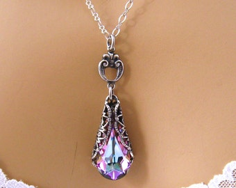 Swarovski Purple Crystal Necklace, Antiqued Silver Teardrop Victorian Swarovski Necklace, Bridesmaids Jewelry, Purple Bridal Wedding Jewelry