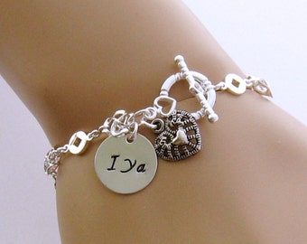 Silver Initial Bracelet, Heart Charm, Personalized Hand Stamped Initial Bracelet, Friendship Bracelet, Mom Bracelet, Bridesmaid Bracelet
