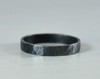 Sterling Silver Women's Wedding Ring - 3mm Hammered Wedding Ring Oxidized Black Finish