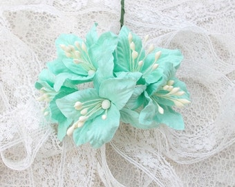 Shabby Chic Lily Flowers for Scrapbooking, Card Making, Altered Art, Tags, Mixed Media, Wedding, Light Aqua