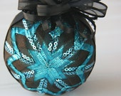 Quilted Christmas Ornament Ball/Black and Blue  - Night on the Town