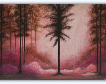 Twilight Forest. Acrylic Landscape Painting. Original art. 90cm x 45cm. Ready to hang.